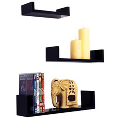 Melody - Wall Mounted Display Storage Shelves - Set Of 3 - Black