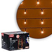 50 LED Warm White Battery Timer Christmas Lights
