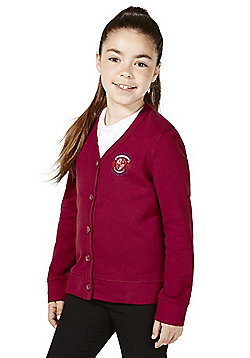 Girls Embroidered Jersey School Cardigan with As New Technology - Claret