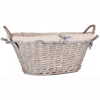 Rustic Grey Willow Oval Laundry with Plain Lining