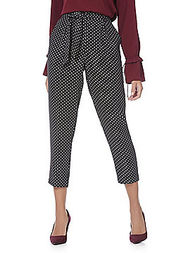 F&F Diamond Print Tapered Cropped Trousers - Black & White