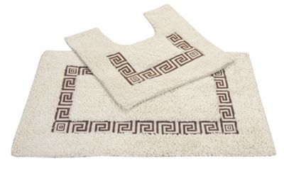 EHC 2 Pcs Bathmat And Pedestal Mat Set