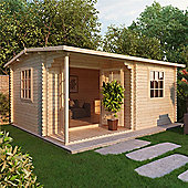 4m x 3m (13ft x 10ft) Sutton Home Office Log Cabin (Double Glazing) 34mm Garden Cabin - Fast Delivery - Pick A Day