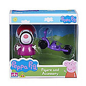 Peppa Pig Figure and Accessory (Zoey Zebra W/Bike)