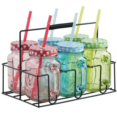 VonShef Set of 6 Mason Jar Glasses