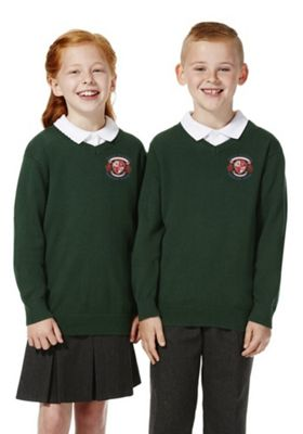 Unisex Embroidered V-Neck Cotton School Jumper with As New Technology 2-3 years Bottle green