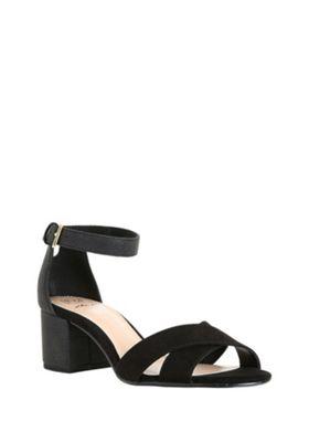 F&F Sensitive Sole Wide Fit Block Heel Sandals Black Adult 4