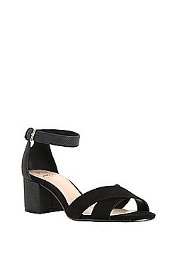 F&F Sensitive Sole Wide Fit Block Heel Sandals - Black