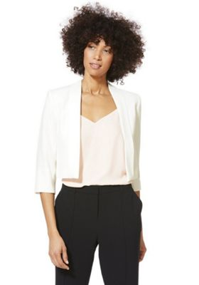 Roman Originals Crepe Cropped Blazer Jacket Ivory 16