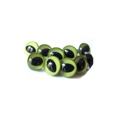 Craft Factory Green Cats Eyes 12mm Pack of 100