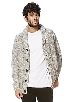 F&F Twisted Yarn Chunky Knit Shawl Cardigan - Grey