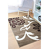 Hand Carved Floret Beige & Brown Rug - 80x150cm