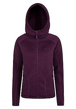 Mountain Warehouse Womens Hoodies Soft Fleece Lining with Adjustable Hood - Dark purple