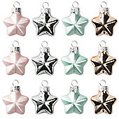 Star Glass Baubles - Set Of Twelve