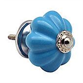 Nicola Spring Ceramic Cupboard Drawer Knobs - Solid Vintage Design - Blue