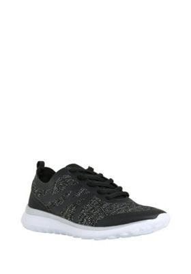 F&F Active Matte Trim Knitted Trainers Black Adult 5