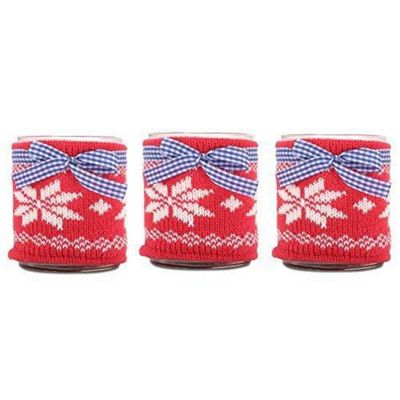 Set of Three Large Glass Tealight Holders with Knitted Snowflake Cozy