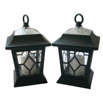 2pc Solar Candle Coach Waterproof Hanging Lantern