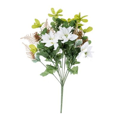 Homescapes Artificial Christmas Mistletoe Fern and White Poinsettia Plant