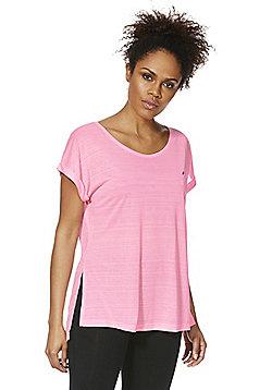 F&F Active Burnout Side Split T-Shirt - Light pink