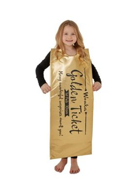 Roald Dahl Willa Wonka The Golden Ticket Fancy Dress Costume Gold One Size