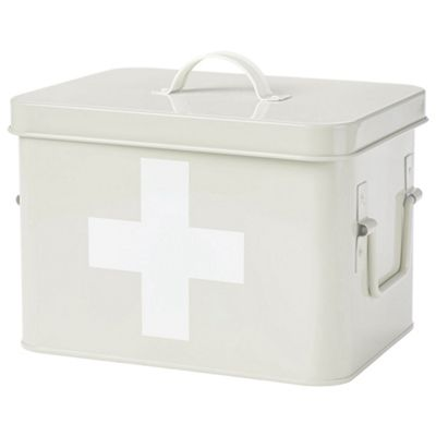 Andrew James Vintage Style First Aid Tin with Removable Tray and Sturdy Lid - Cream