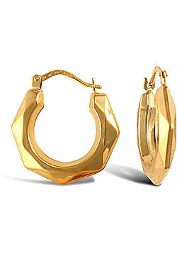 Ladies 9ct Gold Faceted Donut Creole Earrings