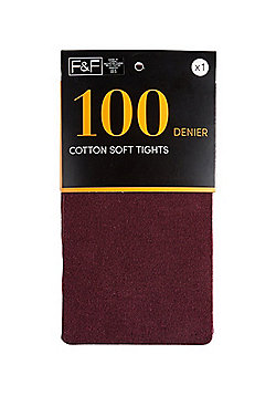 F&F Knitted 100 Denier Tights - Burgundy