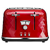 DeLonghi CTJ4003.R Brillante Designer 4 Slice Toaster - Red and Chrome