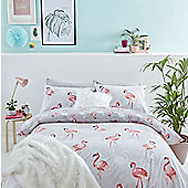 Catherine Lansfield Flamingo Cotton Rich Duvet Cover Set - Grey - Grey