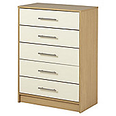 Lindon Gloss 5 Drawer Chest Oak Cream