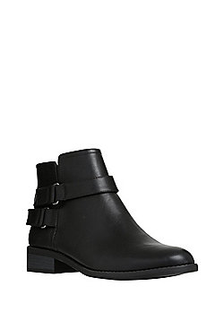 F&F Double Buckle Strap Ankle Boots - Black