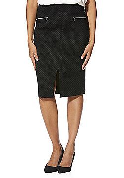 F&F Dotty Pencil Skirt - Black