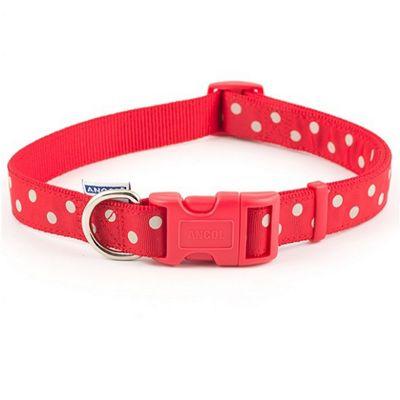 Ancol Vintage Polka Adjustable Dog Collar - Red - 45cm-70cm