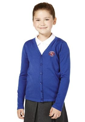 Unisex Embroidered Scallop Edge Cotton School Cardigan with As New Technology 3-4 years Bright royal blue