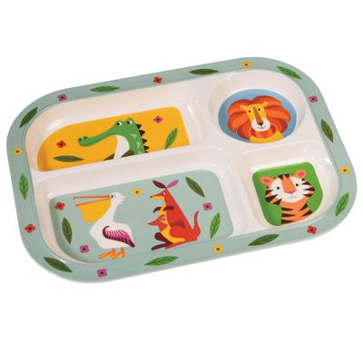 Children's Compartment Tray - Jungle Friends, Baby Feeding Tray, Jungle Friends Feeding Tray