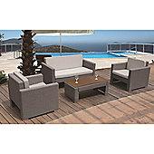 BrackenStyle Luxury Four Seat Sofa Set & Cushions - Light Grey