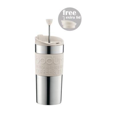 Bodum Stainless Steel Travel Mug/Press 0.35L -Off White