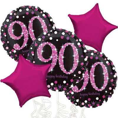 90th Birthday Pink Sparkling Celebration Balloon Bouquet - Assorted Foil 18 inch