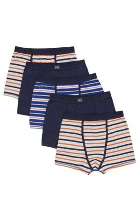 F&F 5 Pack of Striped and Plain Trunks 4-5 years Blue