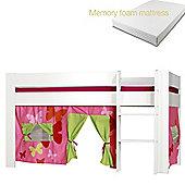 Kids World Midsleeper with Pink Patterned Tent/Memory foam mattress
