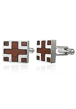 Urban Male Modern Stainless Steel Cufflinks Inlaid with Real Wood
