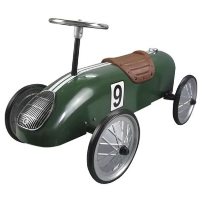 Great Gizmos Classic Retro Metal Ride-On Racing Car, Green