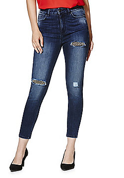 F&F Embellished Rip and Repair Mid Rise Skinny Jeans - Indigo