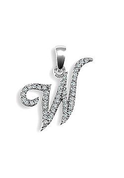 9ct White Gold Diamond Script Initial Identity Pendant - Letter W