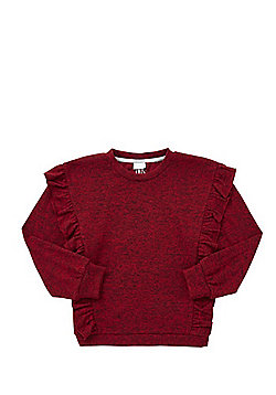 F&F Frill Detail Knitted Sweatshirt - Red