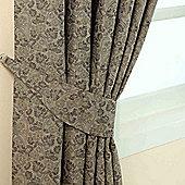 Homescapes Grey Jacquard Tie Back Pair Vintage Floral Design