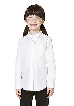 F&F School 2 Pack of Girls Easy Care Slim Fit Long Sleeve Shirts - White