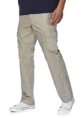 F&F Loose Fit Cargo Trousers Sand 36 Waist 32 Leg