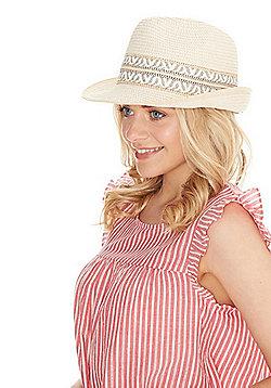 F&F Straw Trilby Hat - Natural